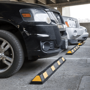 NoTrax Safety 6' Black/Yellow Recycled Rubber Car Stop In Parking Garage