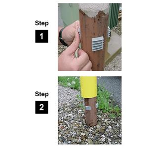 "Innoplast 4"" Yellow w/ Red Reflective Stripes Bollard Cover Tab Installation"