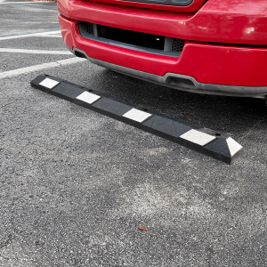 NoTrax Safety 6' Black/White Recycled Rubber Car Stop Main Image