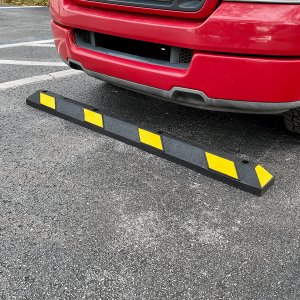 NoTrax Safety 6' Black/Yellow Recycled Rubber Car Stop Main View