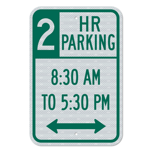 Two-Hour Parking Double Arrow Sign 3M Engineering Grade Prismatic Sheeting