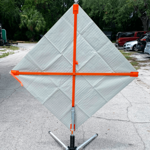 National Traffic Signs Reflective Vinyl Roll Up Sign and Ribs Back angle