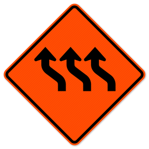 National Traffic Signs W1-4cL-48-DGFO-Three Lane Reverse Curve Left Sign