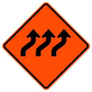 National Traffic Signs W1-4cR-48-DGFO-Three Lane Reverse Curve Right Sign