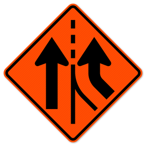 National Traffic Signs W4-3R-36-DGFO Added Lane Right Sign