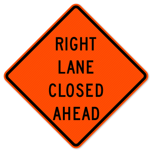 National Traffic Signs W9-3R-36-DGFO Right Lane Closed Ahead Sign