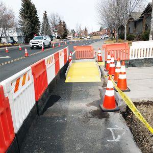 Plasticade Strongwall ADA Pedestrian Barricade Base On Construction Site