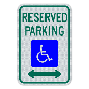 Reserved Parking Sign With Double Arrows 3M Engineering Grade Prismatic Sheeting